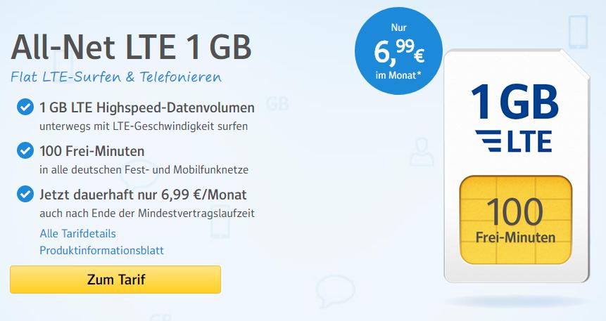 web.de All-Net LTE 1 GB Flat LTE für 6,99 € mtl.